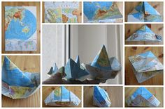 Faltboote aus Atlasseiten / Paper boats made of the pages of an atlas
