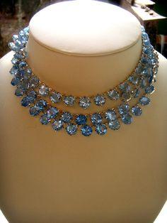 Necklaces crystal color July skies Deco bezel от ODMIVINTAGE
