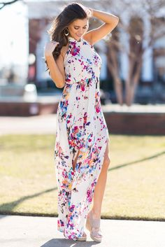 """""""Wild Flower Fascination Maxi Dress, Natural"""" This maxi dress has the print you love with a new halter neckline and more flowy fit! You really can't get any more gorgeous than that fit! #newarrivals #shopthemint"""