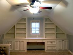 Custom Desks - Custom Home & Office Desks - Wake Forest — Woodmaster Custom Cabinets - Custom Cabinets & Interior Trim Bonus Room Office, Bonus Rooms, Home Office, Office Desks, Built In Desk, Built In Shelves, Built Ins, Attic Bedrooms, Upstairs Bedroom