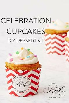 Bring out your inner child with these celebratory treats. Colorful cakes, pastel sprinkles and gold candles scream YAY. Includes 24 oven-safe red and white chevron cupcake cups, and 10 gold candles. Impressive Desserts, Cupcake In A Cup, Funfetti Cake, Gourmet Desserts, Rainbow Sprinkles, Colorful Cakes, Favorite Candy, Red Fruit