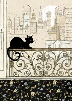 City Cat bug art Black Ink Designed by Jane Crowther Each card is embossed with gold foil.