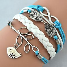 - Multilayer Alloy Owl Leaves and Infinite Charms Handmade Leather Bracelets ,