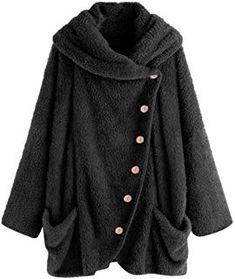 Winter Coat Women Plus Size Solid Turtleneck Button Big Pockets Cloak Coats Casual Vintage Femme Oversize Coats and Jackets Hoodie Sweatshirts, Winter Coats Women, Coats For Women, Mantel Vintage, Fluffy Coat, Oversized Coat, Fashion Mode, Jacket Buttons, Outerwear Women