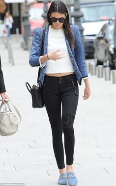 Kendall Jenner rocks the moto jean with pops of pale blue. -Kate Dimmock