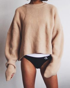 ribbed sweaters + calvin klein intimates