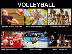 Volleyball- Yep that's how I feel. But I hope people really don't think we play … Volleyball- Yep that's how I feel. But I hope people really don't think we play in bikinis… Beach Volleyball, Volleyball Jokes, Volleyball Workouts, Girls Basketball, Girls Softball, Softball Players, Funny Volleyball Pictures, Volleyball Motivation, Volleyball 2017
