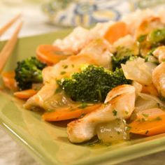 Ginger Chicken Stir-fry Recipe Main Dishes with reduced sodium soy sauce, corn starch, lemon juice, ground ginger, boneless skinless chicken breast halves, country crock calcium plus vitamin d, broccoli, carrots, onions, chopped fresh cilantro, reduced sodium chicken broth