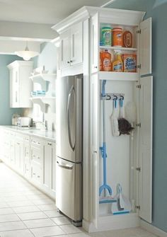 Tiny House Storage, Small Kitchen Storage, Laundry Room Storage, Smart Storage, Storage Organization, Laundry Rooms, Closet Storage, Storage Hacks, Hidden Kitchen
