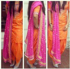 http://www.getstyleathome.com/ #getstyleathome #orangesuit #punjabi suit