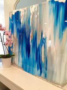 This one of a kind large abstract artwork is textured with a mixture of acrylic paints, recycled glass, and resin coating to create a truly(Diy Art Large) Resin Art, Painting Inspiration, Diy Art, Art Projects, Wall Art, Resin Coating, Recycled Glass, Gold Leaf, High Gloss