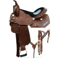 Very pretty, barrel style saddle set with beaded inlays and turquoise stones! This saddle features full rough out leather that is accented with turquoise st Barrel Saddle, Barrel Racing Tack, Barrel Horse, Saddle Rack, Cowgirl And Horse, Western Horse Tack, Western Riding, Western Saddles, Horse Training Tips