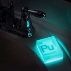 Glow in the Dark Nuclear Element Soap / Make your hours of bathing a scintillating experience with this periodic table inspired Glow in the Dark Nuclear Element Soap. http://thegadgetflow.com/portfolio/glow-dark-nuclear-element-soap/