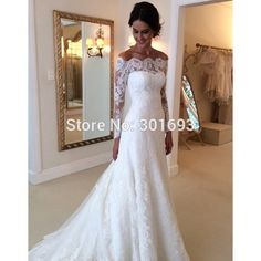 Aliexpress.com : Buy Oumeiya OW205 New Arrival Off the Shoulder Elegant Mermaid High Quality Lace Wedding Dresses with Long Sleeve 2015 from Reliable dress widing suppliers on Oumeiya Wedding Dress Factory  | Alibaba Group