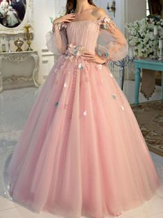 Ball Gown Off-Shoulder Floor-Length Tulle Appliqued Pink Quinceanera Dresses – BohoProm Princess Prom Dresses, Pink Prom Dresses, A Line Prom Dresses, Prom Party Dresses, Pretty Dresses, Gala Dresses, Dress Party, Quinceanera Dresses, Sweet 15