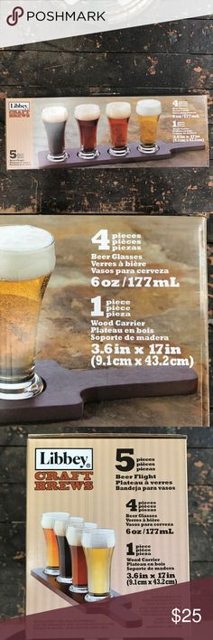 NWOT 4 glass beer flight Still in the box! Comes with four glasses and the wooden tray, great Valentine's Day gift for the beer lovers!! Other