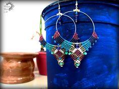 AMETHYST natural Beads Colorful Handmade Micro Macrame HOOP