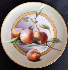 "Limoges D'Arcy Studio Peaches Plate Signed ""Schindler"""