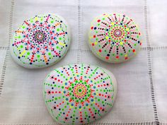 Set of Three Handpainted Stone Dots Mandala- Meditation- Pebble Colourful Art – Indian- Pointillism-Dot Art-Mediterranean Sea Rocks-Vibrant
