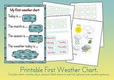 "Free Printable ""First Weather Chart"" for Preschoolers."