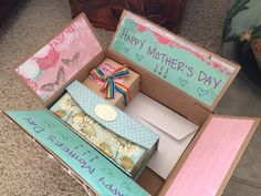 Mothers Day care package. Decorate the inside of the box. Saw this on Pintrest and just had to try it. Easy DIY project- makes her gift so special!