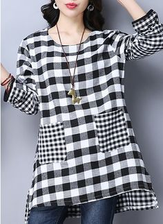 Casual women long sleeve plaid pocket irregular hem tops shirts new look women blouses Trendy Tops For Women, Linen Dresses, Dresses Dresses, Stylish Dresses, Party Dresses, Casual Dresses, Summer Dresses, Formal Dresses, Black Blouse