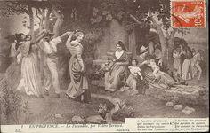 Carte postale : EN PROVENCE. - La Farandole, par Valère Bernard. 1er quart 20e siècle Musée des Civilisations de l'Europe et de la Méditerranée. #allaitement_provence