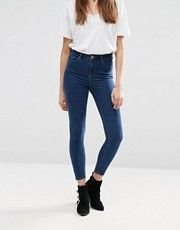 ASOS Ridley High Waist Skinny Ankle Grazer Jeans in Kelsey Deep Blue Wash