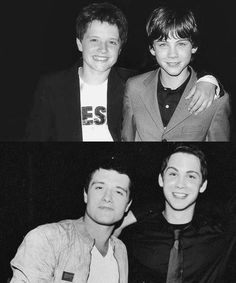 (33) Tumblr, actors, black and white, photography, friends, men, boys, Logan Lerman, beautiful, josh hutcherson