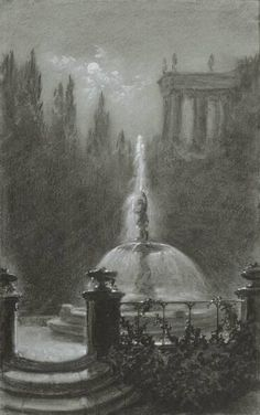 Carl Gustav Carus:  Fountain Before a Temple (Thaw Collection, 1854–1857)