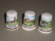 3 -  FINE ENGLISH BONE CHINA THIMBLES - Hadrians wall-Fountains Abbey-Ripley