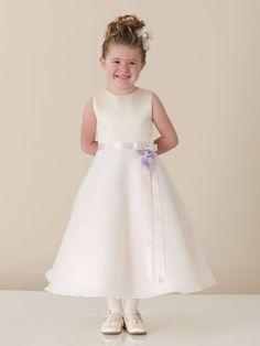 Girls White Plus Size Communion Dress.