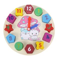 Baby Kids Childrens Education Wooden Puzzle Toys Wooden Digital Clock Jigsaw Toy 3D Geometry Stacking Toys