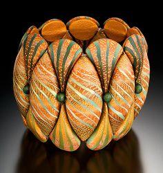 Autumn Cinch Bracelet by Elise Winters, cool reciprocal Design Polymer Clay Bracelet, Polymer Clay Beads, Polymer Clay Projects, Polymer Clay Creations, Clay Crafts, Clay Design, E Design, For Elise, Clay Tutorials