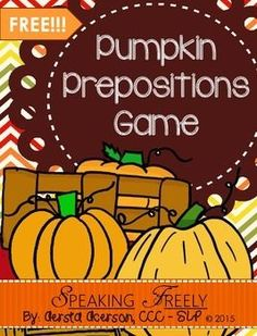 I've got a FREEBIE for you!!! This is a simple, 7 page packet to be used as a great activity for targeting prepositions. The purpose of this packet is to help you teach receptive & expressive prepositions in a fun, Halloween-themed way! The following prepositions are targeted in this packet: In front of, Next to/Beside, Behind, Under, Over, In, On, Above, Below, & BetweenIf you love it, I'm always grateful for feedback!