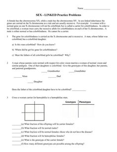 Printables Sex Linked Inheritance Worksheet genetics practice problem worksheet sex linked genes linkage linkage