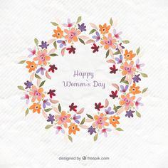 le jour de Floral couronne femmes Vecteur gratuit