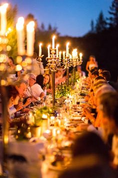 Candlelit Wedding Reception...but with lower flower arrangements in between. #wedding
