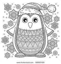 Merry Christmas. Jolly Penguin. The detailed coloring pages for adults. Image for design greeting cards