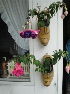 Wooden shoes as planters