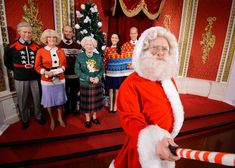 Say cheese For Santa! Father Christmas takes a selfie of the Royal Family in their Ugly Christmas Sweaters – Photo courtesy of Madame Tussauds and Save The Children #Santa #Royals #Christmas