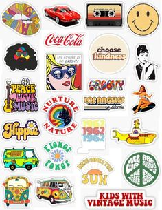 sticker pack 60 stickers retro vintage hippie old school old style breakfast at tiffany's tiedye vintage music cocacola red cars old cars psy Vintage Hippie, Retro Vintage, Vintage Music, Vintage Cars, Vintage Yellow, Vintage Style, Snapchat Stickers, Phone Stickers, Flower Power
