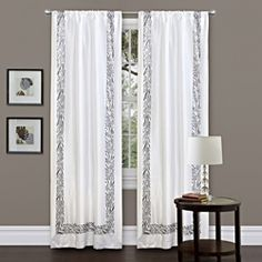 @Overstock - Bring a bit of the wild into your home with this animal print curtain panel. The white faux silk is soft to the touch and has a zebra print border to add interest. The panel comes with a tieback for days when you want to let natural light in.http://www.overstock.com/Home-Garden/Lush-Decor-Grey-Urban-Savanna-84-inch-Curtain-Panel/6820878/product.html?CID=214117 $27.49
