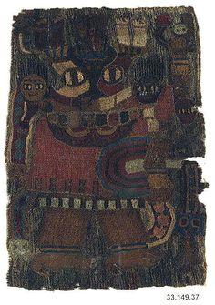 3.- 2.Jh vor Chr. : Peru :   Embroidered Mantle Fragment : Kamelhaar : ca. 13,3 x 19 cm
