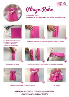 Pliage serviette en forme de robe #babyshower #rose #tuto #DIY
