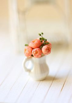 Dollhouse Miniature Flowers  Peach Pink by miniaturepatisserie