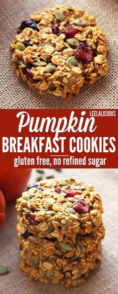 Pumpkin Breakfast Cookies - healthy make-ahead breakfast in the form of convenie., Pumpkin Breakfast Cookies - healthy make-ahead breakfast in the form of convenient and delicious oat cookies with pumpkin, cranberries and pepitas. Healthy Cookies, Gluten Free Cookies, Delicious Cookies, Sugar Free Oat Cookies, Healthy Breakfast Cookies, Breakfast Cookie Recipe, Baking Cookies, Sugar Free Protein Bars, Sugarless Cookies