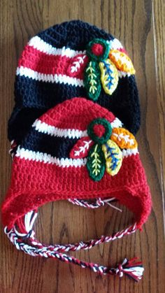 Chicago Blackhawks Crocheted hat in red or black.
