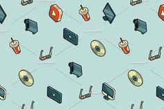Online cinema isometric pattern by Netkoff on @creativemarket