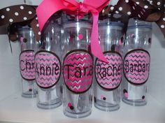 Personalized Decorated Tumblers - Tall/Thin Tumbler - Birthday, girls weekend, bachelorette party, teacher, wedding tumblers, bridal party